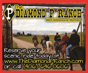 Diamond P Ranch Horseback Rides - Guided horseback rides on trails through the mountains that surround West Yellowstone, Montana since 1953. Three ride choices each day with one ride on Sundays.
