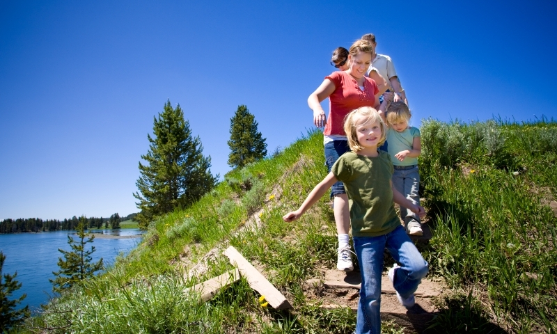 Hiking Family Yellowstone National Park Kids